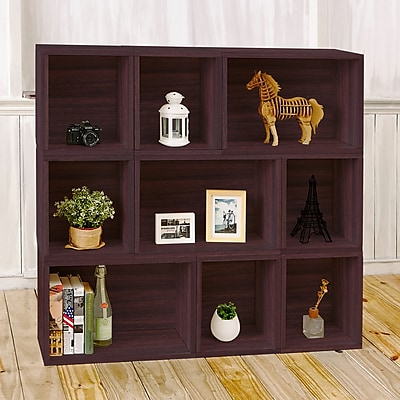 Way Basics Eco Stackable Oxford Modular Bookcase and Storage Shelf, Espresso Wood Grain