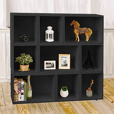 Way Basics Eco Stackable Oxford Modular Bookcase and Storage Shelf, Black Wood Grain