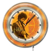 Holland Bar Stool Jimi Hendrix Guitar Double Neon Ring Logo Wall Clock; 19'' H x 19'' W x 5'' D