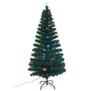 Aosom 6' Artificial Christmas Tree with Fiber Optic Lights