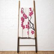 In2Green Cherry Blossom Throw Blanket; Milk/Fuchsia/Smoke