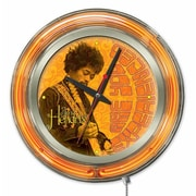 Holland Bar Stool Jimi Hendrix Guitar Double Neon Ring Logo Wall Clock; 15'' H x 15'' W x 3'' D