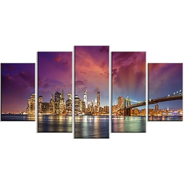DesignArt Metal 'New York City Manhattan Skyline Red' Photographic Print