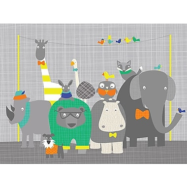 GreenBox Art 'Happy Animal Herd Technicolor' by Vicky Barone Graphic Art on Canvas; 18'' H x 24'' W