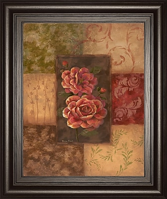ClassyArtWholesalers Camellias on Chocolate by Vivian Flasch Framed Painting Print