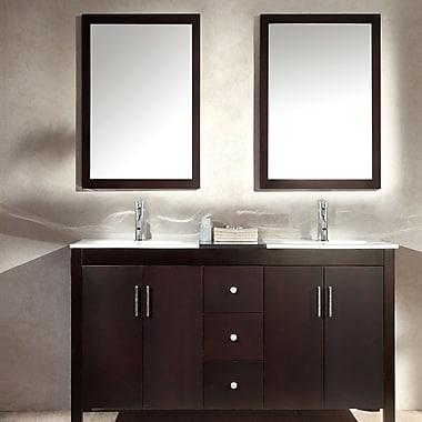 Ariel Bath Hanson 60'' Double Bathroom Vanity Set w/ Mirror; Espresso