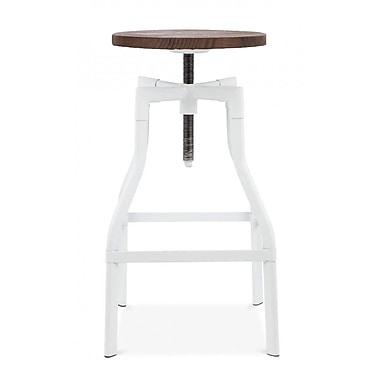 Design Lab MN Machinist Adjustable Height Swivel Bar Stool; Glossy White