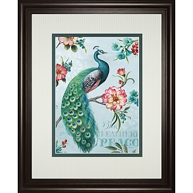 ClassyArtWholesalers Blue Feather Peacock by Lisa Audit Framed Graphic Art