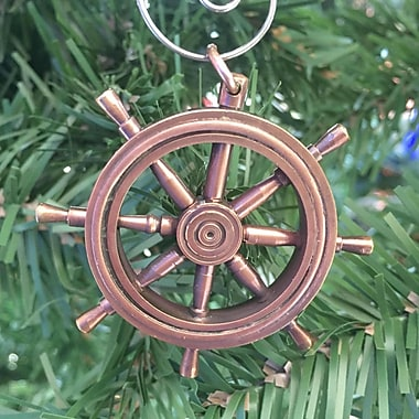 Handcrafted Nautical Decor Ship Wheel Christmas Ornament; Antique Copper