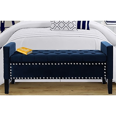 Iconic Home Lance Upholstered Storage Bench; Navy WYF078278938634