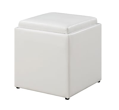 Convenience Concepts Inc. Designs4Comfort Ottomans Faux Leather Ottoman with Stool in White (143629W)