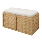 Convenience Concepts Inc. Designs4Comfort Ottomans Linen Double Seat Ottoman Bamboo Weave (143629W)