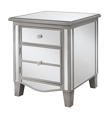 Convenience Concepts Inc. Gold Coast Park Lane Mirrored Glass End Table, Silver, Each (413551S)