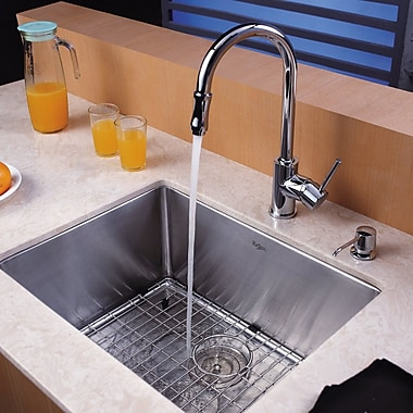 Kraus 23'' x 18'' Undermount Kitchen Sink w/ Faucet and Soap Dispenser; Chrome