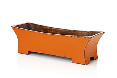 Antique Revival Rectangular Rail planter; Orange