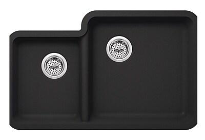 Soleil 20.75'' x 33'' Quartz Double Bowl Kitchen Sink; Onyx Black