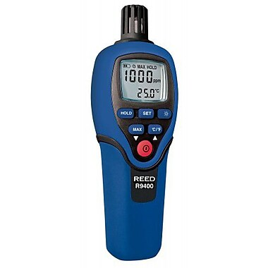 REED R9400 Carbon Monoxide Meter with Temperature, 1000ppm, -4 to 158degF (-20 to 70degC)