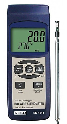 REED SD-4214 SD Series Hot Wire Thermo-Anemometer, Datalogger, w/ Temperature