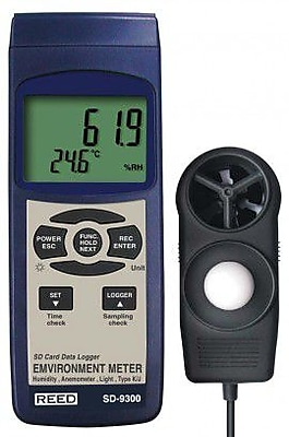 REED SD-9300 SD Series Environmental Meter, Datalogger (Air Velocity/Temp, Light, Ambient Temperature, Humidity)