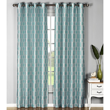 Window Elements Wanda Geometric Sheer Single Curtain Panel; Aqua