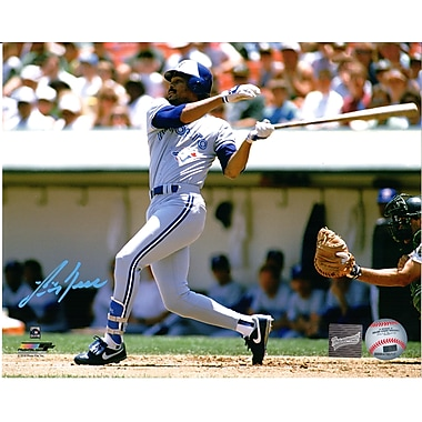 Frameworth George Bell Signed Photo, Toronto Blue Jays Swinging, Grey Jersey, 8
