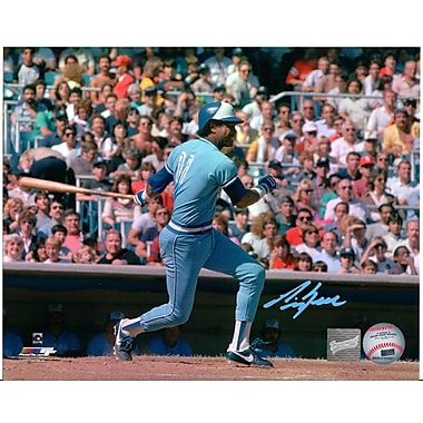Frameworth George Bell Signed Photo, Toronto Blue Jays Swinging, Baby Blue Jersey, 8