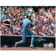 Frameworth – Photo autographiée George Bell balançant le bâton, Blue Jays de Toronto, maillot bleu pâle, 8 x 10 po
