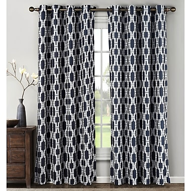 Window Elements Whitney Geometric Sheer Curtain Panels (Set of 2); Navy