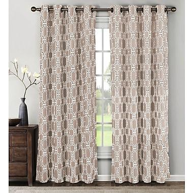 Window Elements Whitney Geometric Sheer Curtain Panels (Set of 2); Taupe