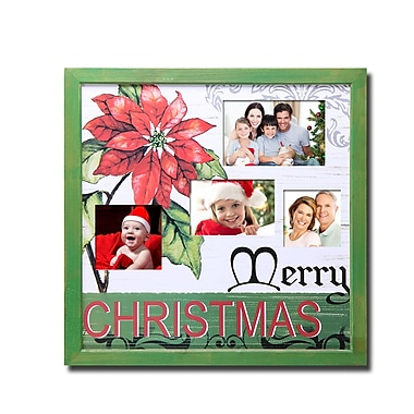 AdecoTrading 4 Opening Decorative Painted Pine Poinsettia Wall Hanging Collage Picture Frame