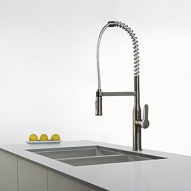 Kraus Nola Single Handle Pull Down Kitchen Faucet; Stainless Steel