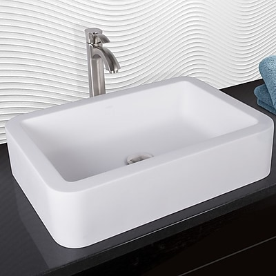 Vigo VIGO Matte Stone Rectangular Vessel Bathroom Sink w/ Faucet