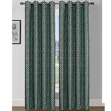 Window Elements Camille Geometric Sheer Curtain Panels (Set of 2); Turquoise/Chocolate