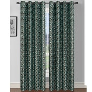 Window Elements Camille Curtain Panels (Set of 2); Turquoise/Chocolate