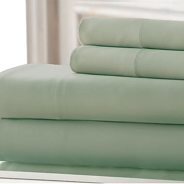 Amrapur 3 Piece 220 Thread Count Rayon from Bamboo Rich Sheet Set; Sage