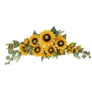 AdmiredbyNature Artificial Sunflower Swag with Mini Berries Foliage; Gold