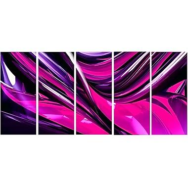 DesignArt Metal 'Pink/Purple Ribbons' 5 Piece Graphic Art Set