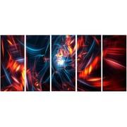DesignArt Metal 'Red/Black Coming Apart' 5 Piece Graphic Art Set