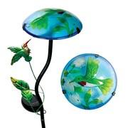 Exhart Solar Mushroom w/ Hummingbird Design Garden Stake