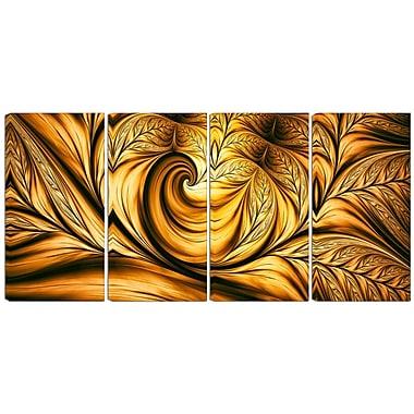 DesignArt Metal 'Golden Dream Abstract' 4 Piece Graphic Art Set