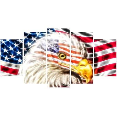 DesignArt Metal 'Land of the Free Eagle' 5 Piece Graphic Art Set