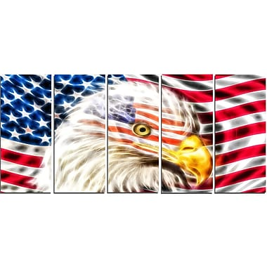 DesignArt Metal 'Land of the Free Eagle' 5 Piece Graphic Art Set