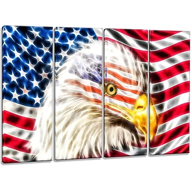 DesignArt Metal 'Land of the Free Eagle' 4 Piece Graphic Art Set