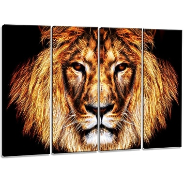 DesignArt Aluminium 'Hear Him Roar Lion' 4 Piece Graphic Art Set