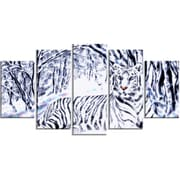 DesignArt Aluminium 'White Tiger White Forest' 5 Piece Graphic Art Set