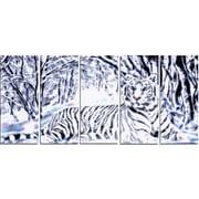 DesignArt Aluminium 'White Tiger White Forest' 5 Piece Graphic Art