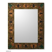 Novica Manolo and Lucho Unique Rectangular Leather Wall Mirror