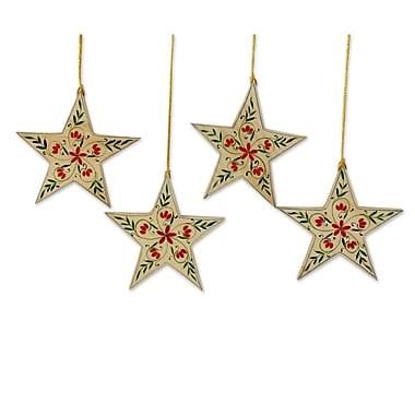 Novica Ganesh Sharma Christmas Star Handcrafted Ornament w/ Flower Motif (Set of 4)