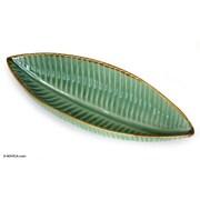 Novica Putu Oka Mahendra Artisan Crafted Ceramic Leaf Serving Bowl