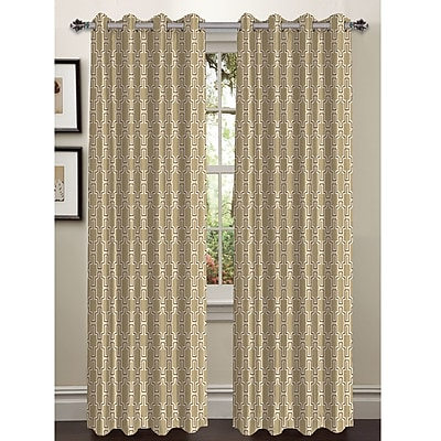 Window Elements Wesley Extra Wide Geometric Sheer Grommet Curtain Panels (Set of 2); Taupe
